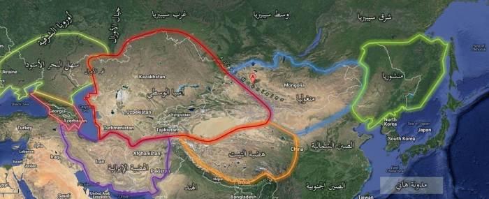هذه الخريطة تبين موقع جبال ألطاي بين منغوليا شرقا وآسيا الوسطى غربا وسيبريا شمالا
