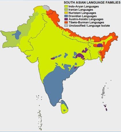 صورة من ويكيبيديا تبين توزع اللغات في الهند. اللغات الدرافيدية تظهر باللون الأزرق.