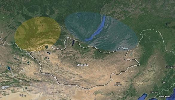 بناء على العلامات الجينية والدلائل الأركيولوجية أنا أفترض أن المنطقة المحددة باللون الأصفر كانت مسكونة بشعوب إيرانية (وينيسية) حتى نهاية عصر الحديد (300 قبل الميلاد)، وأما المنطقة المحددة باللون الأزرق فهي مهد قديم للألطائيين (قبل نهاية عصر الحديد كان سكانها هم الأتراك البدائيون Proto-Turks)
