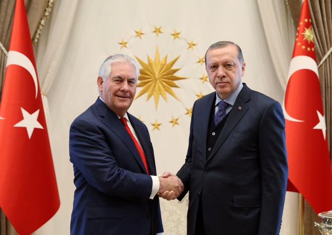 Turkish President Erdogan meets with U.S. Secretary of State Tillerson in Ankara